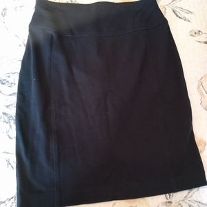 Stretch knit black pencil skirt